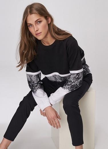 People By Fabrika Dantel Detaylı Sweatshirt Siyah